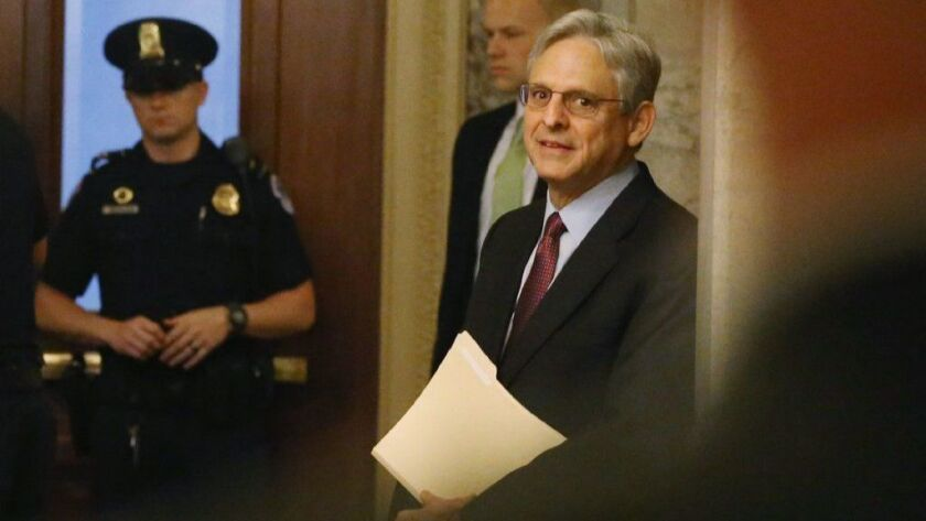 Judge Merrick Garland, then President Obama's nominee for the Supreme Court, arrives at Capitol Hill on April 12, 2016.