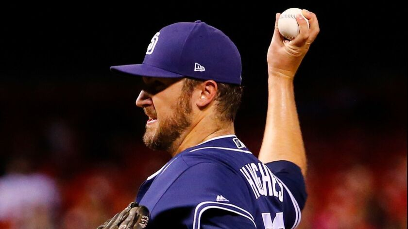Phil Hughes pitches in the eighth inning Monday against the St. Louis Cardinals.