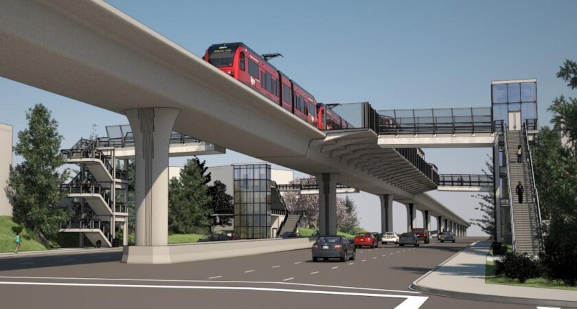 Rendering of a proposed 'Mid Coast Corridor' trolley station with elevated tracks, outdoor platforms and stairs. This is an image for the Executive Drive station. Courtesy SANDAG