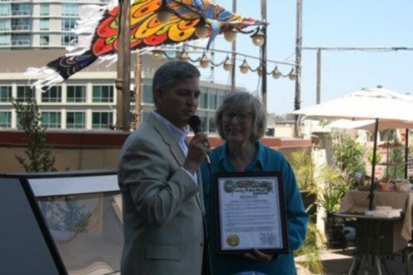 supervisor Dave roberts with san Diego Puppetry Guild President Lynne Jennings. Photo Anthony Rodriguez