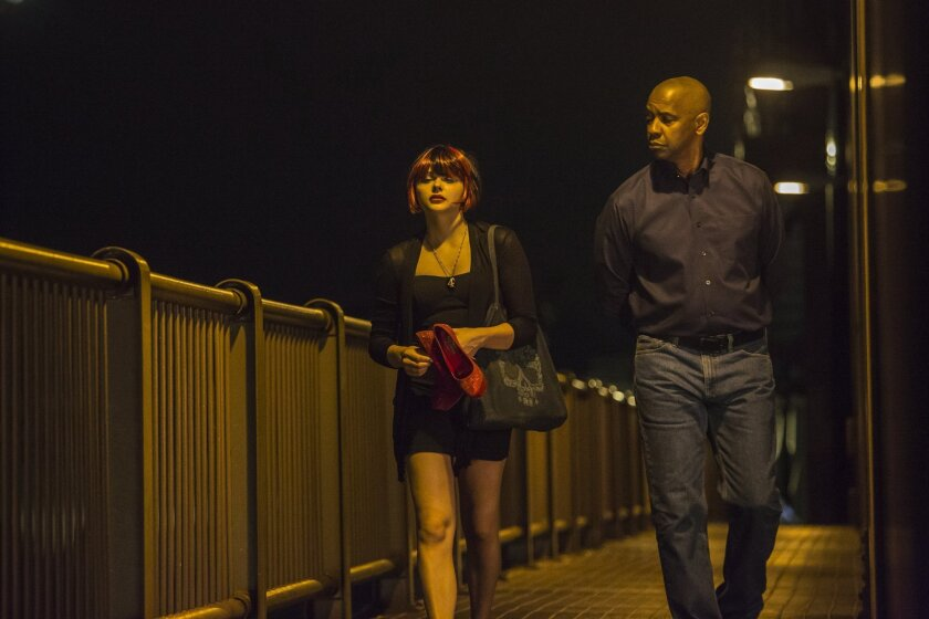 """Chloe Grace Moretz and Denzel Washington in Columbia Pictures' """"The Equalizer."""""""