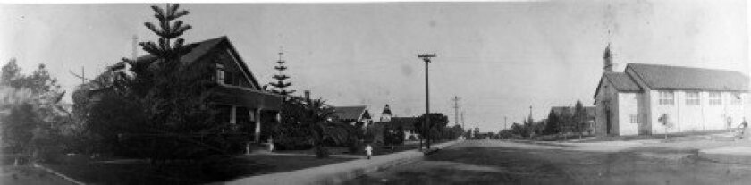 This 1916 panorama shows Ivanhoe Avenue looking toward Prospect Street. The building at left (Olson House, Lathrop House) was once the site of the Balmer School, which became what is today La Jolla Country Day School (now in UTC). Today, this stretch of Ivanhoe contains the Bentz Building, which op