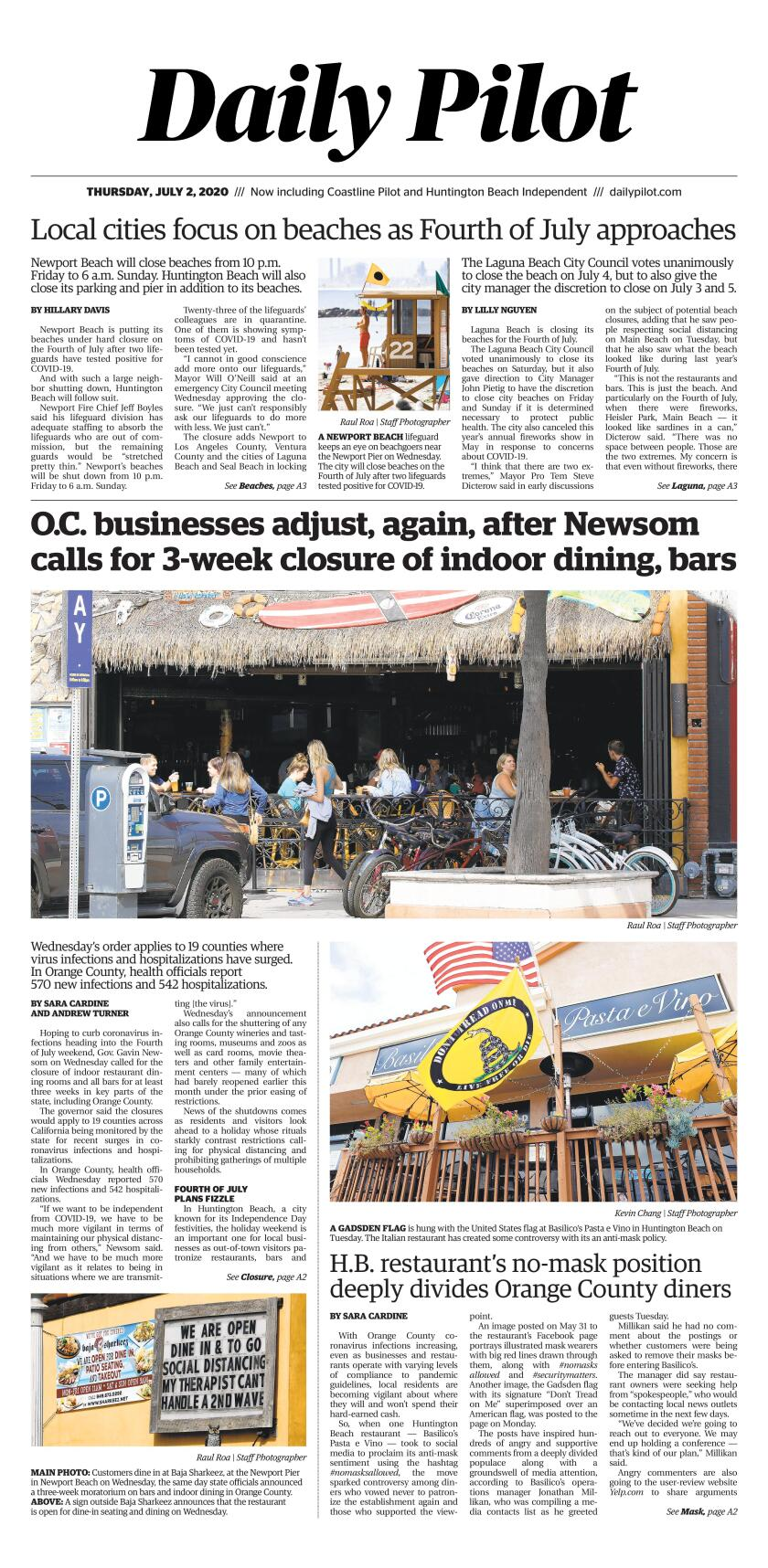 Daily Pilot e-Newspaper: Thursday, July 2, 2020 Cover