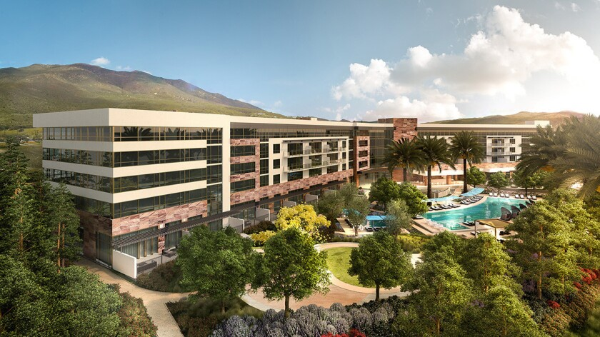 A rendering of the new Viejas Casino & Resort hotel wing and pool.