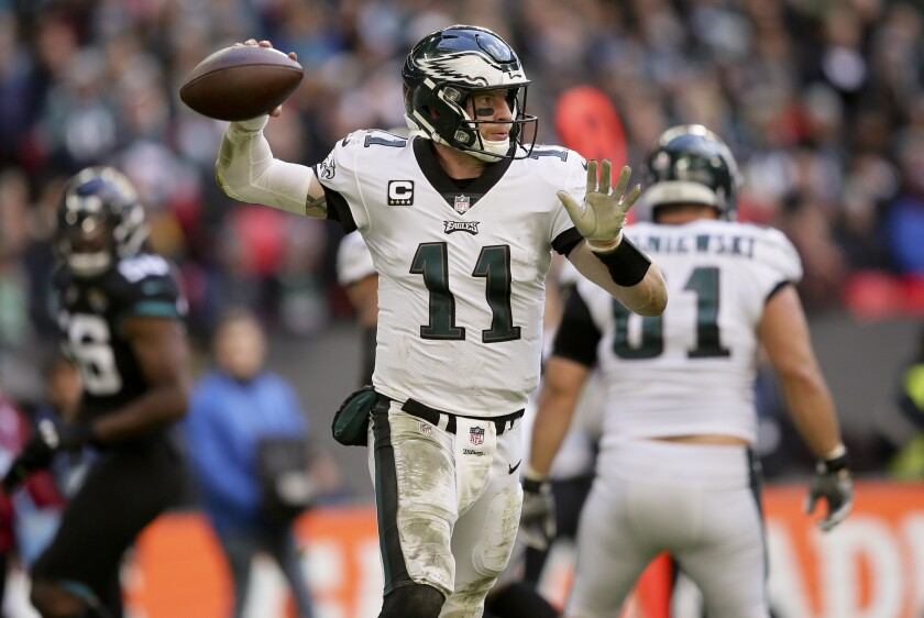 Carson Wentz (11) could provide the most value at quarterback in fantasy this upcoming season.