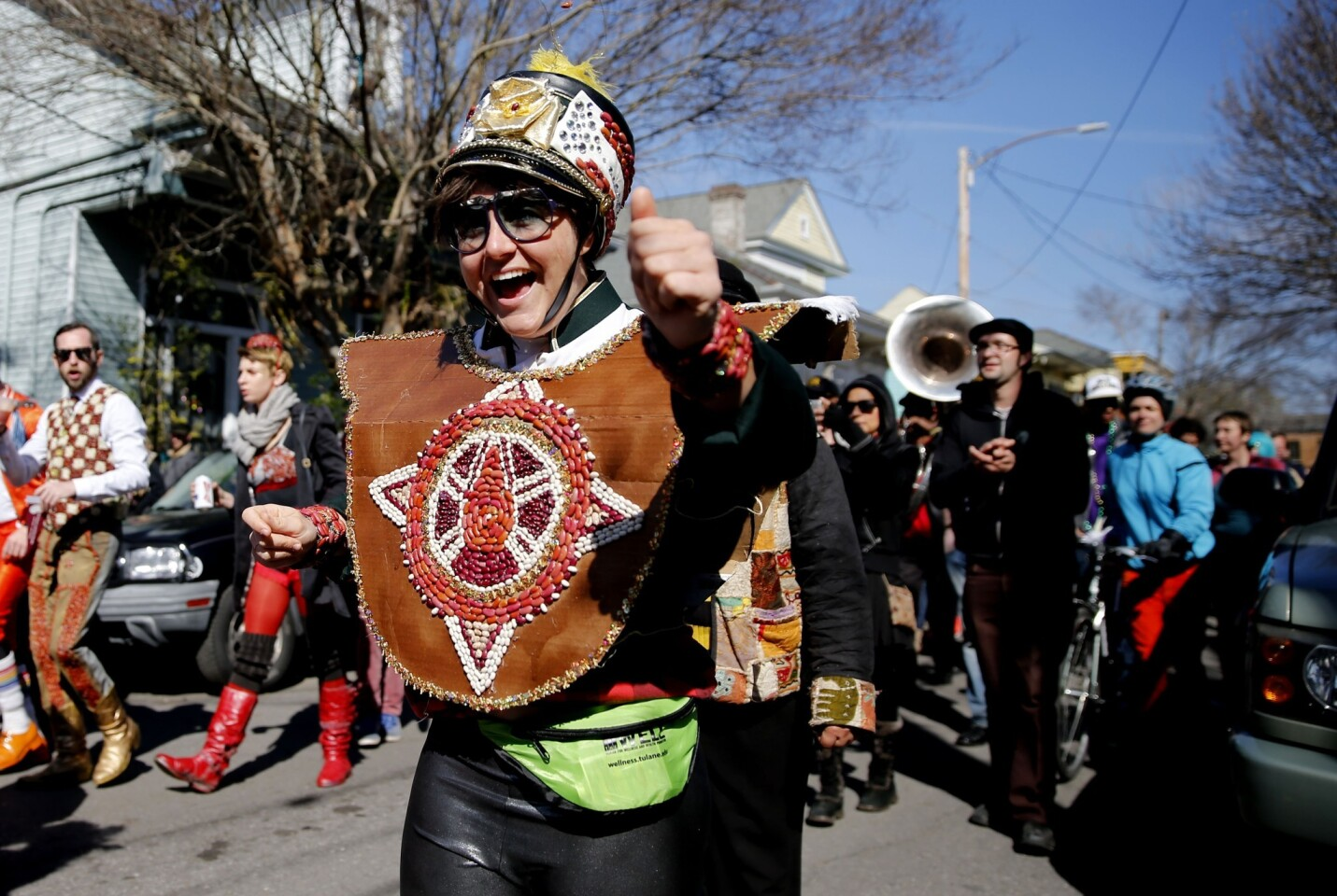 The Red Beans parade began in the Marigny neighborhood and ended in the Treme with the Treme Brass Band on Monday in New Orleans. Participants sported costumes made of various kinds of beans.