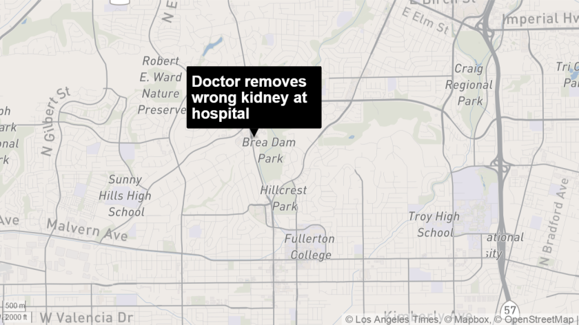 The Medical Board of California has placed an Orange County surgeon on three years' probation after he removed the wrong kidney during surgery at St. Jude's Medical Center in Fullerton.