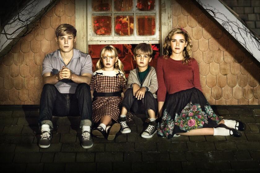 "Mason Dye, left, Ava Telek, Maxwell Kovach and Kiernan Shipka play the locked-up children in Lifetime's adaptation of V.C. Andrews' novel ""Flowers in the Attic."""