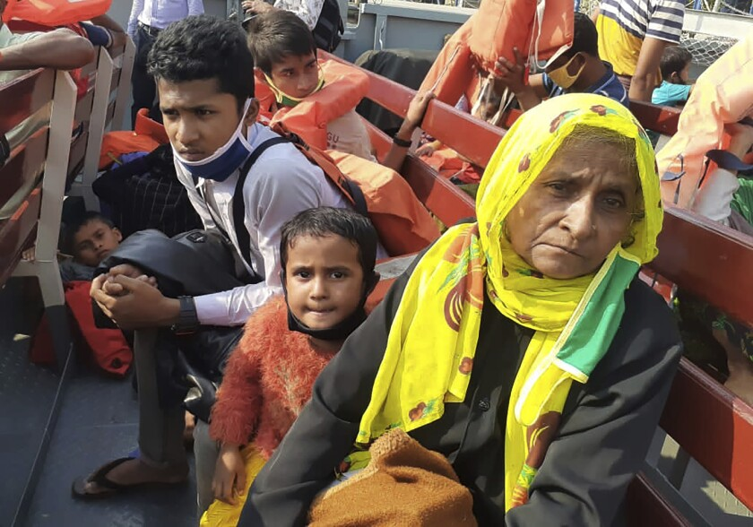 Rohingya refugees are ferried to Bhashan Char in the Bay of Bengal, from Chittagong, Bangladesh, on Dec. 4.