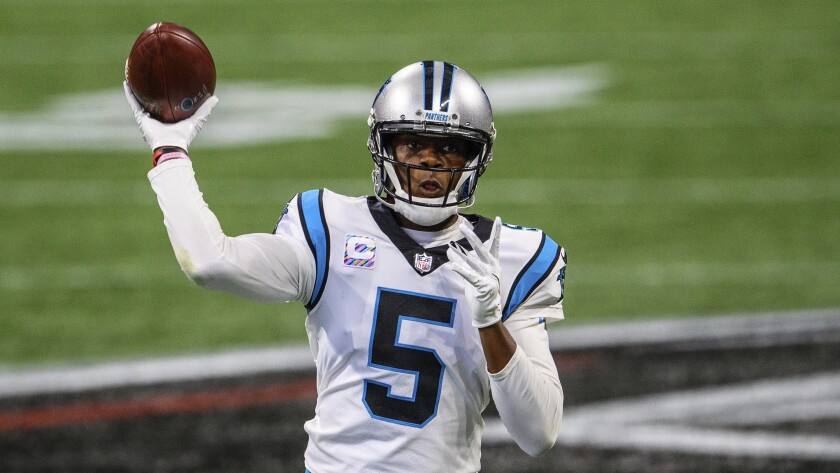 Panthers quarterback Teddy Bridgewater throws a pass in a game against the Falcons on Oct. 11.