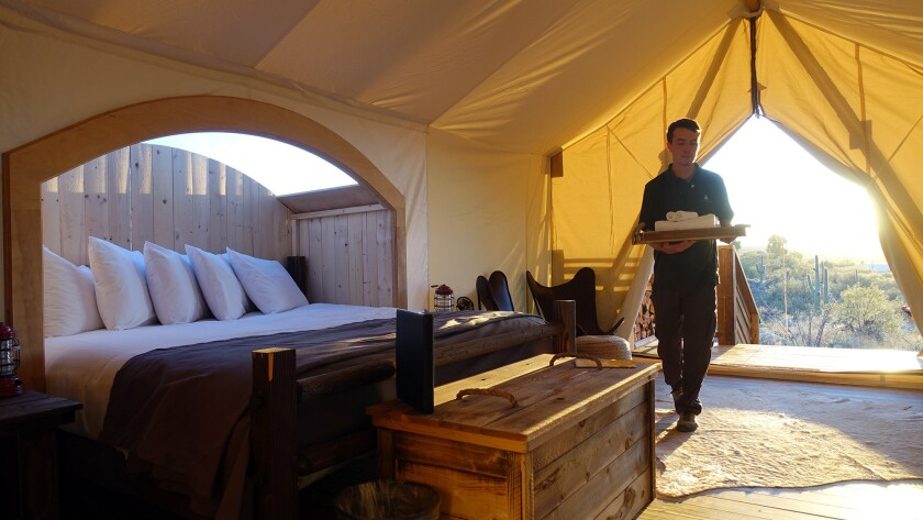 At Under Cover Tucson, the Stargazer tent features a skylight over the king-sized bed that offers guests a view of the stars.