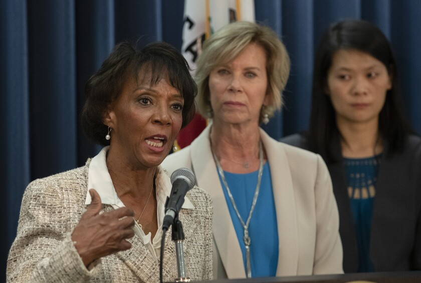 Los Angeles County Dist. Atty. Jackie Lacey speaks at a news conference.