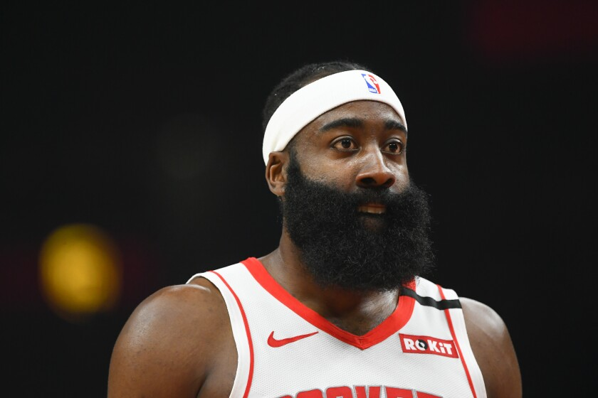 Houston Rockets guard James Harden (13) looks on during the first half of an NBA basketball game againsty the Atlanta Hawks, Wednesday, Jan. 8, 2020, in Atlanta. (AP Photo/John Amis)