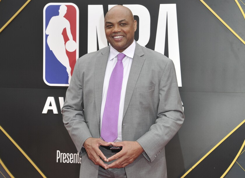 FILE - In this June 24, 2019, file photo, Charles Barkley arrives at the NBA Awards o at the Barker Hangar in Santa Monica, Calif. The former Auburn University star and NBA Hall of Famer says he's donating $1 million to Miles College, a historically black institution in Fairfield, Alabama. (Photo by Richard Shotwell/Invision/AP, File)