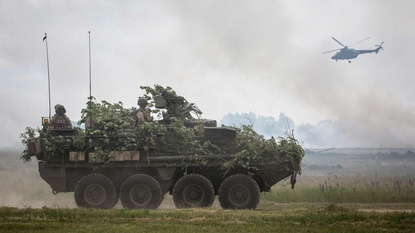 NATO troops take part in military exercises in Orzysz, Poland, in June 2017.
