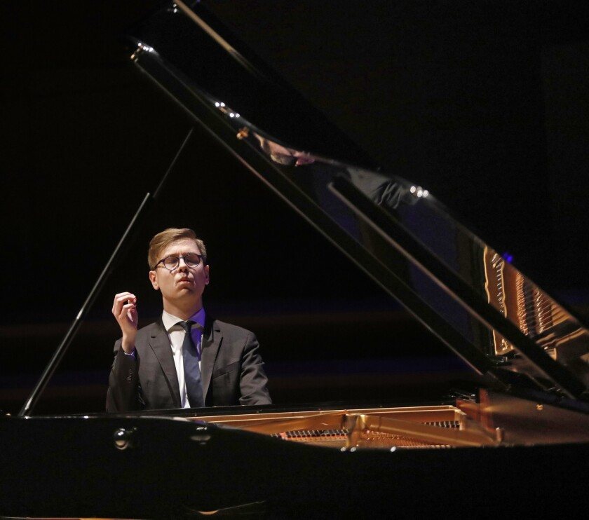 LOS ANGELES, CA - APRIL 21, 2019 - - Vikingur Olafsson performs in a piano recital featuring the mus