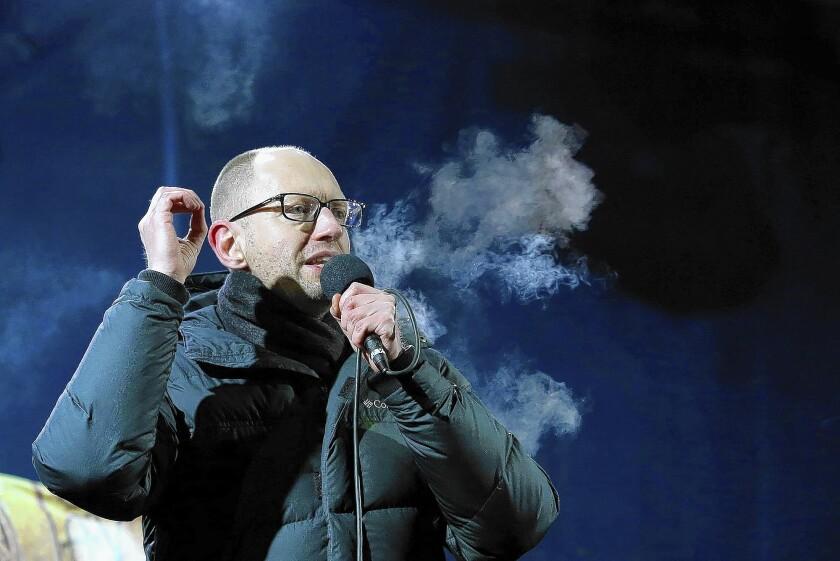 Arseny Yatsenyuk speaks in Kiev