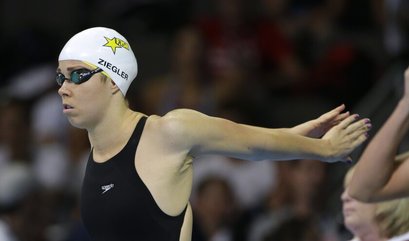 Kate Ziegler prepares to swim in the women's 800-meter freestyle during the 2012 U.S. Olympic trials.