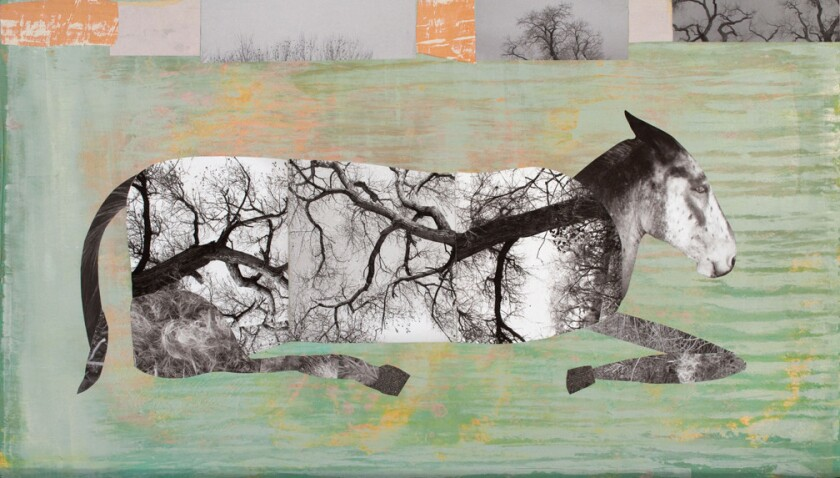 """Photographic collages by Holly Roberts go on view at Craig Krull Gallery in Santa Monica this week. Seen here is a work from 2014, """"Horse Resting."""""""