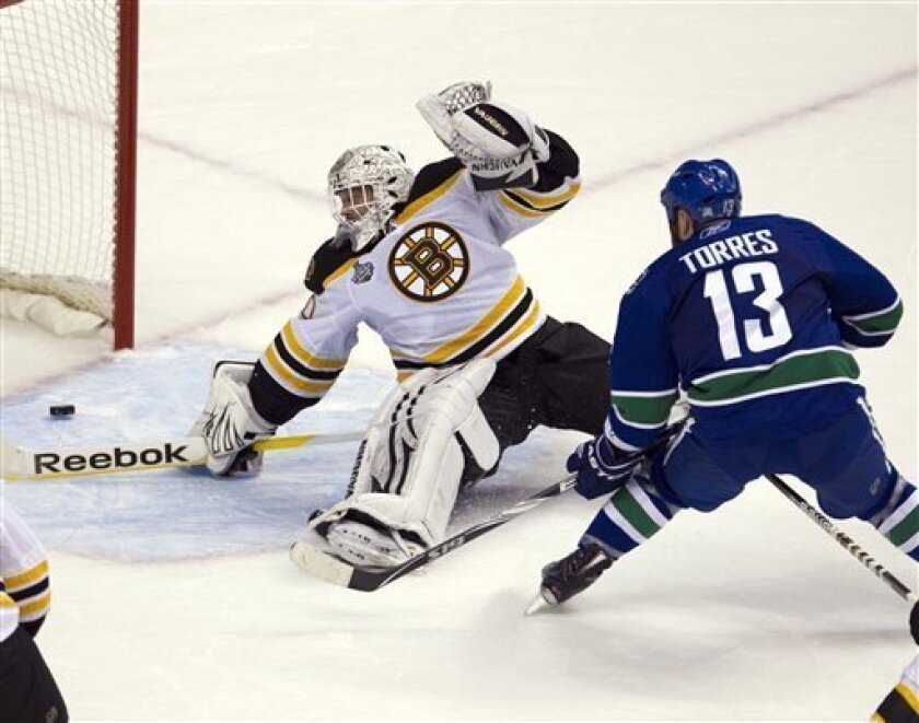 Vancouver Canucks left wing Raffi Torres scores the winning goal against Boston Bruins goalie Tim Thomas during the third period of game one Stanley Cup final playoff hockey action in Vancouver, British Columbia, Wednesday, June 1, 2011. (AP Photo/The Canadian Press,Jonathan Hayward)