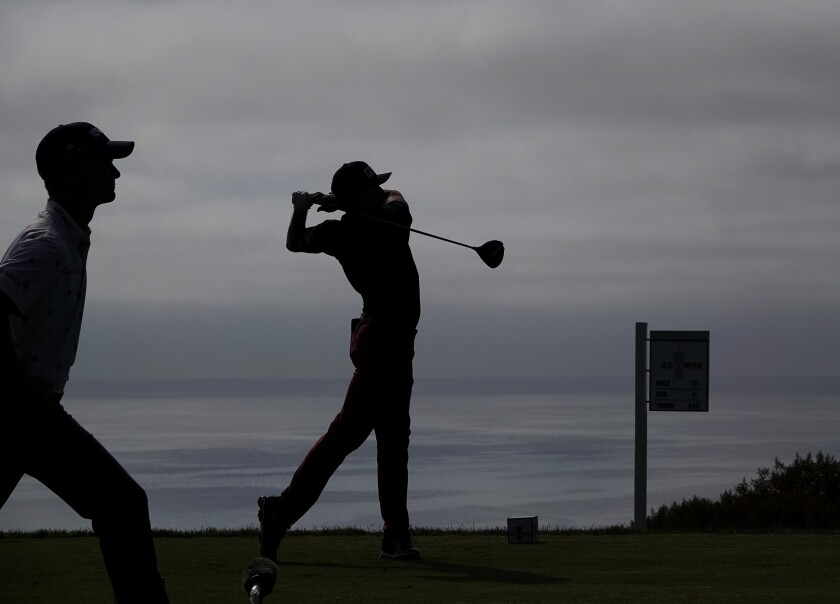 Canada's Mackenzie Hughes tees off on the 17th hole at the U.S. Open at Torrey Pines on Saturday.