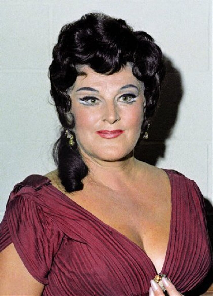 In this Oct. 4, 1968 file photo, Opera Singer Birgit Nilsson, acclaimed as the greatest Wagnerian soprano of the post-World War II generation, is shown at the Met Opera in New York. (AP Photo, file)