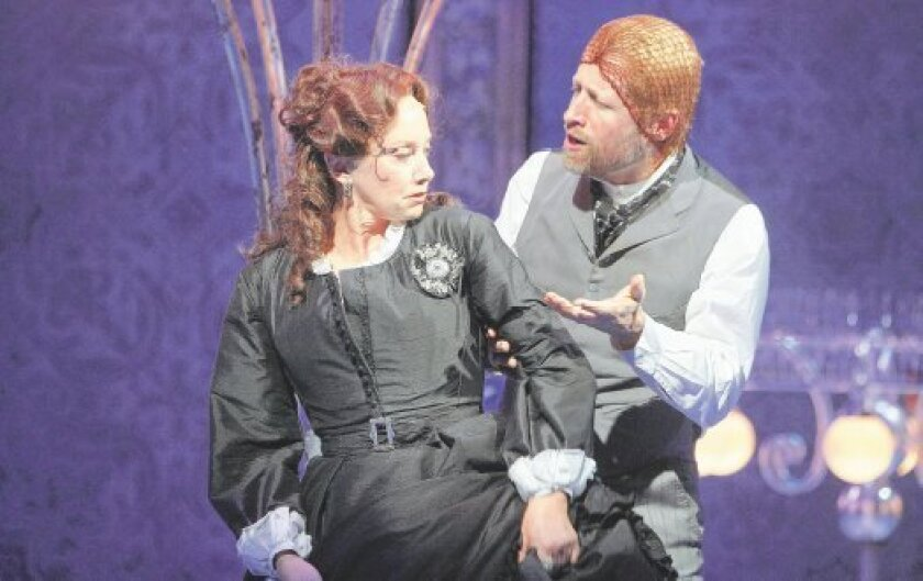 "J. Smith-Cameron as Helena and Tim Hopper as Lysander in ""A Midsummer Night's