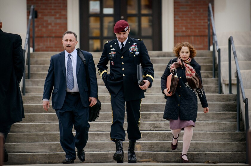 Brig. Gen. Jeffrey Sinclair, seen leaving the courthouse this week, faces several sexual assault charges. His accuser testified Friday.