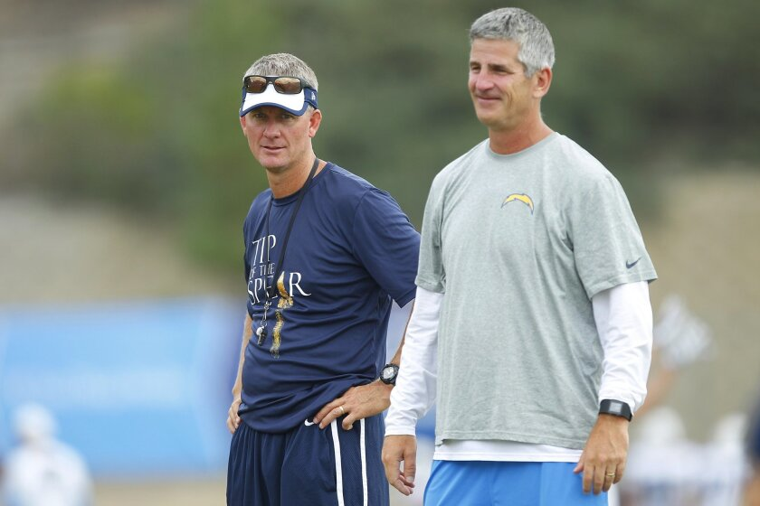 Chargers  coach Mike McCoy and Frank Reich  talk  during practice.