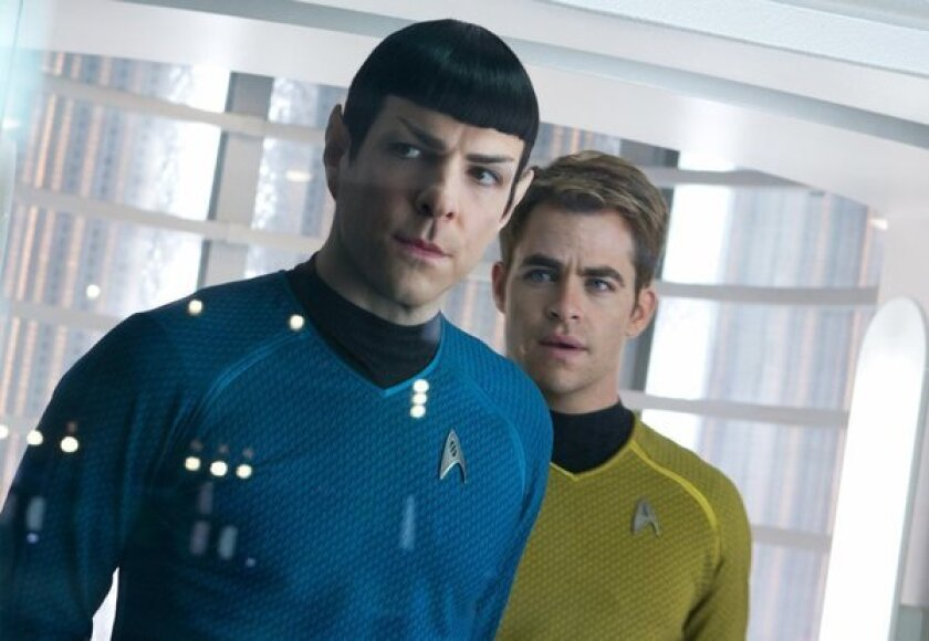 """Zachary Quinto, left, and Chris Pine in """"Star Trek Into Darkness,"""" which enjoyed a solid opening Thursday."""