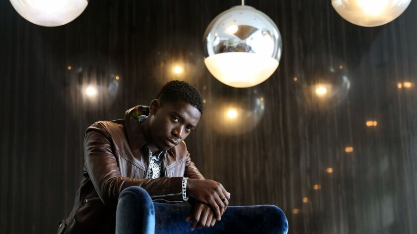 """LOS ANGELES-CA-JULY 16, 2018: Damson Idris, lead actor of FX's """"Snowfall,"""" a series about the crack"""