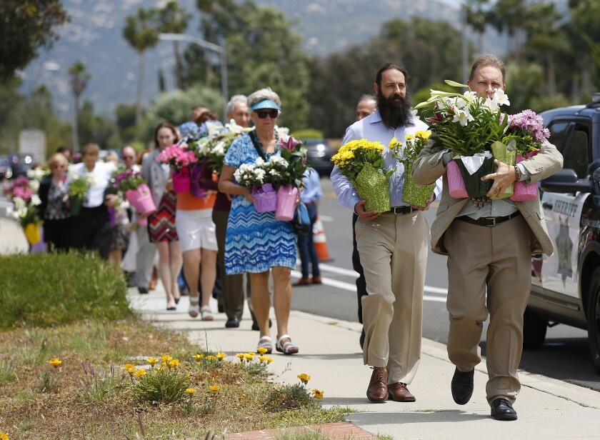 St. John of Damascus Orthodox Church members took flowers to Chabad of Poway on Sunday. The church is across from the synagogue.