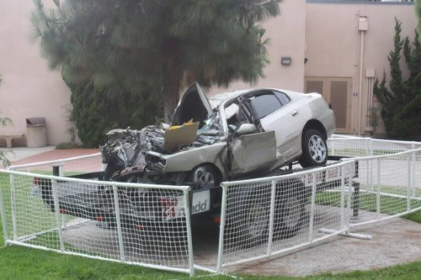 This car was on the La Jolla High School campus for about a week to remind students about the dangers of drunk driving. Ashley Mackin
