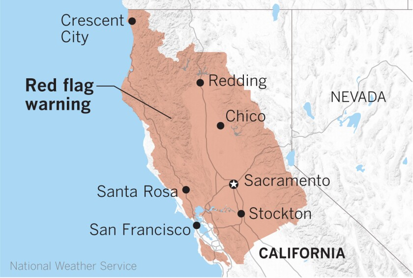 Widespread red flag warnings have been posted in Northern California.