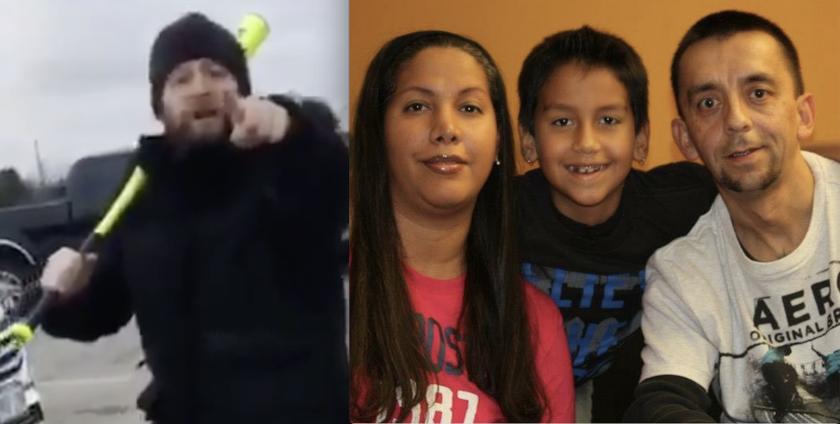 El atacante y la familia latina agredida.