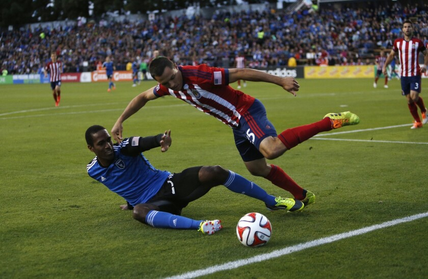 Chivas USA's Donald Toia, right, battles with San Jose's Atiba Harris during the firt half of a 1-0 loss to the Quakes.