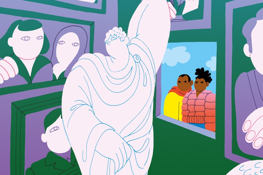 An illustration shows a Black couple gazing inside a museum filled with white figures.