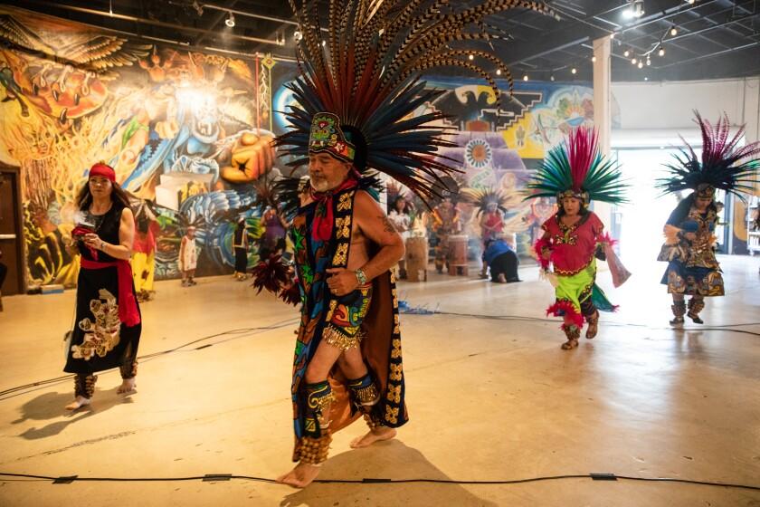 Local dance groups perform at Centro Cultural de La Raza in Balboa Park on Saturday.