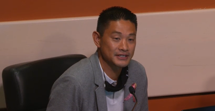 Huntington Beach City Manager Oliver Chi speaks to members of the City Council on Oct. 19.