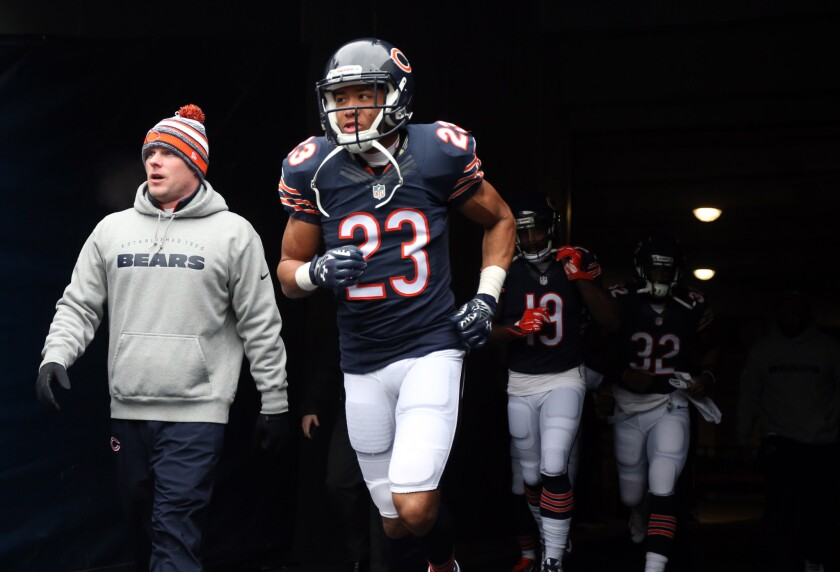 An injured ankle forced cornerback Kyle Fuller from practice on Friday. Coach John Fox said the injury was not serious.