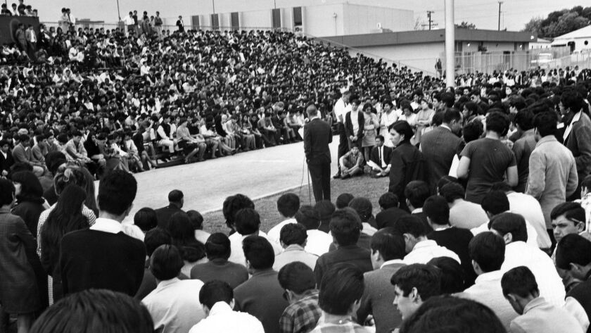 Garfield High School principal Reginald Murphy appeals to students to return to classes on March 7, 1968.