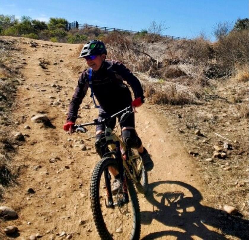 Allen Hunter II rides his mountain bike in January 2021 photo. He was struck and killed while biking June 22 in Solana Beach.