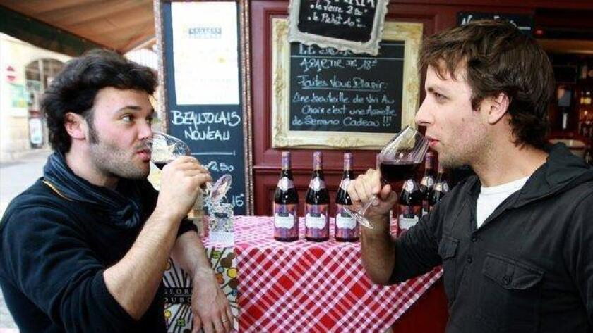Celebrating Beaujolais Nouveau at a wine shop in Bayonne, France