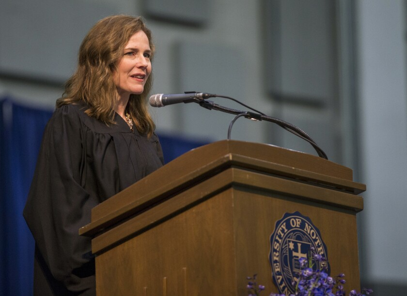 Amy Coney Barrett at Notre Dame Law School's commencement ceremony in 2018.