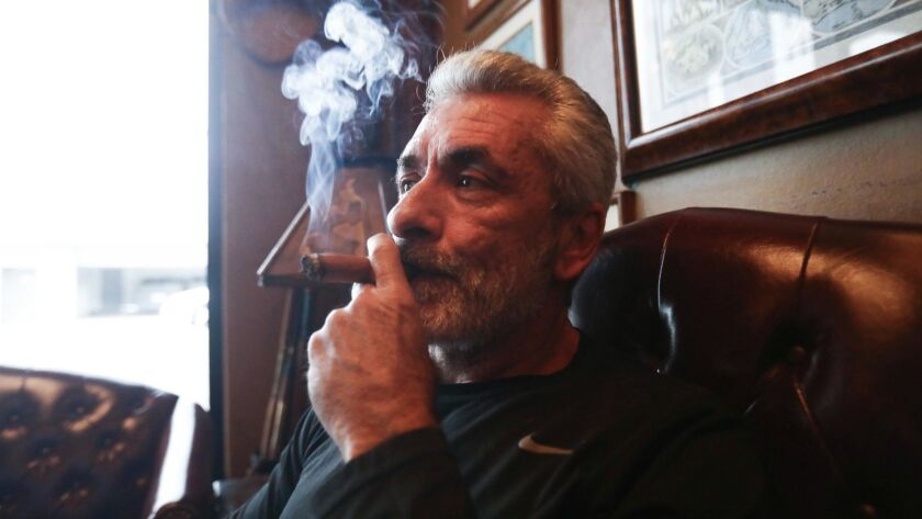 Rigo Fernandez in his Buena Vista Cigar Club in Beverly Hills. Only the city's three recognized cigar lounges will be allowed to continue to sell tobacco products under a new law.