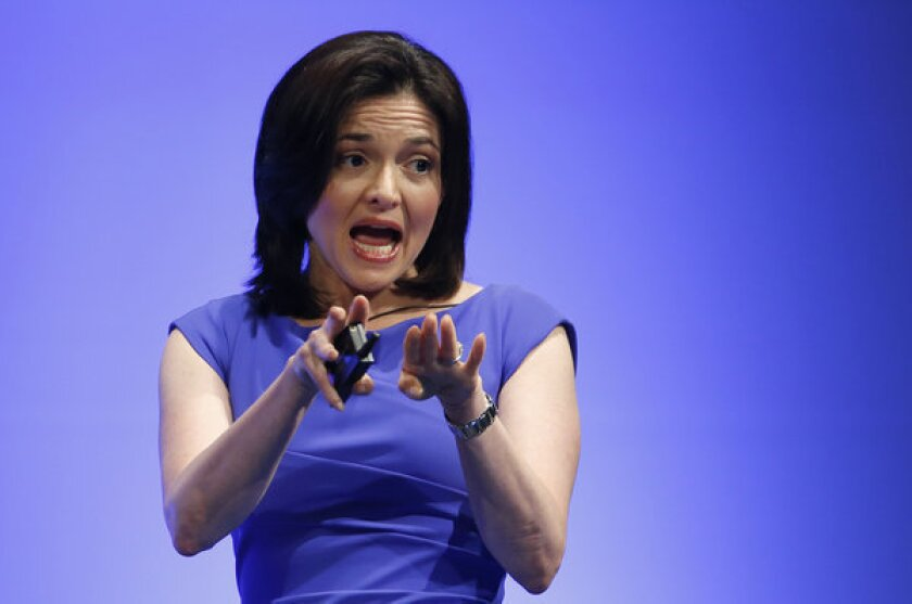 Facebook Chief Operating Officer Sheryl Sandberg delivers a speech at Global Women Leadership Summit in Tokyo in July. Sandberg addressed California's female legislators Wednesday.