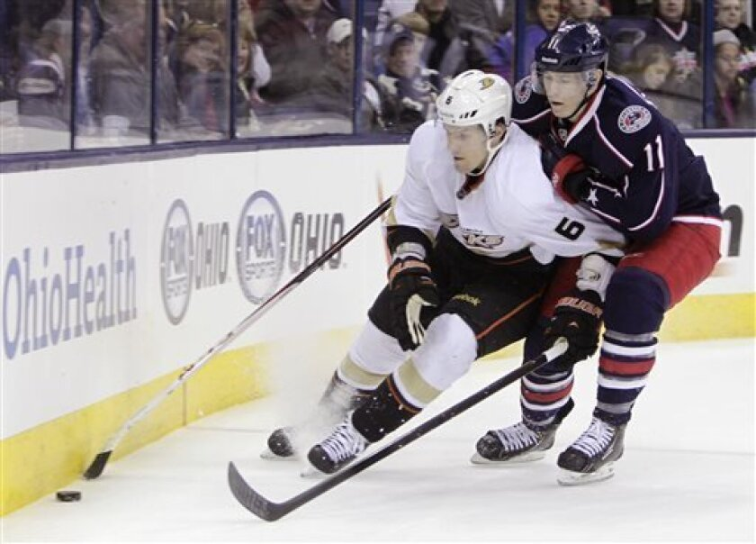 Anaheim Ducks' Ben Lovejoy, left, and Columbus Blue Jackets' Matt Calvert chase a loose puck during the second period of an NHL hockey game Sunday, March 31, 2013, in Columbus, Ohio. (AP Photo/Jay LaPrete)