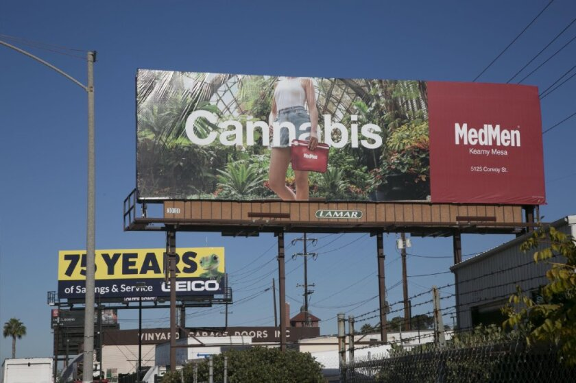 A billboard for MedMen, a cannabis retailer, on Pacific Highway in San Diego
