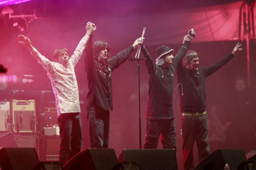 The Stone Roses take a bow at the end of their Coachella Weekend 2 set.
