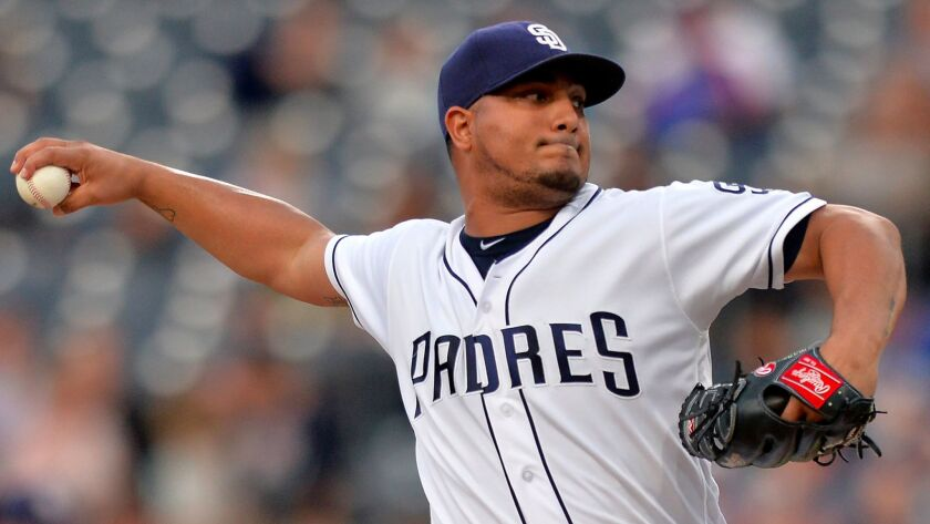 San Diego Padres starting pitcher Jhoulys Chacin works against the New York Mets during the first inning at Petco Park.